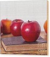 Back To School Apples Wood Print by Edward Fielding