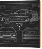 Back To The Future Delorean Blueprint 1 Wood Print