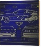 Back To The Future Delorean Blueprint 2 Wood Print