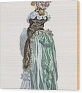 Back View Of A Promenade Gown, Engraved Wood Print