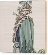 Back View Of Ladys Dress, Engraved Wood Print