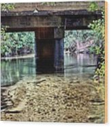 Back Water River Bridge Wood Print