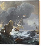 Backhuysen's Ships In Distress Off A Rocky Coast Wood Print