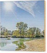 Backlighting River Landscape Wood Print