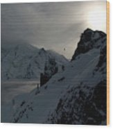 Backlit Skilift In Beautiful Landscape Wood Print