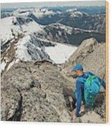 Backpacker Descending Needle Peak Wood Print