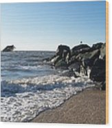 Backwash On Sunset Beach Cape May Wood Print