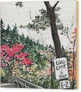 Backwoods Bridge Wood Print