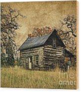 Backwoods Cabin Wood Print by Steve McKinzie