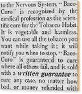 Baco-curo Ad, 1893 Wood Print