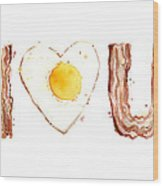 Bacon And Egg Love Wood Print