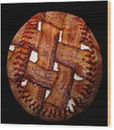 Bacon Weave Baseball Square Wood Print