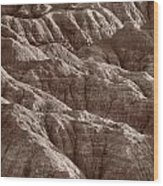 Badlands Light Bw Wood Print