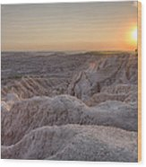 Badlands Overlook Sunset Wood Print