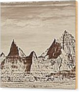 Badlands Plate 1 Wood Print