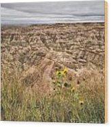 Badlands Wild Sunflowers Wood Print