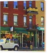 Bagels And Tea St Viateur Bakery And Davids Tea Room Montreal City Scenes Art Carole Spandau Wood Print