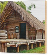 Bahnar Home With Extension As Family Grows At Museum Of Ethnology In Hanoi-vietnam  Wood Print