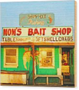 Bait Shop 20130309-1 Wood Print by Wingsdomain Art and Photography