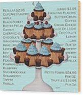 Baked Fresh Daily Aqua Background Wood Print