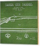 Baker Gun Barrel Patent Drawing From 1877- Green Wood Print