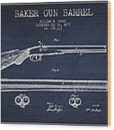 Baker Gun Barrel Patent Drawing From 1877- Navy Blue Wood Print