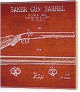 Baker Gun Barrel Patent Drawing From 1877- Red Wood Print