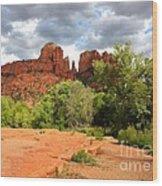 Balance At Cathedral Rock Wood Print
