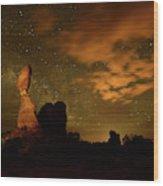 Balanced Rock And The Milky Way Wood Print