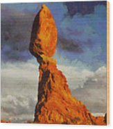 Balanced Rock At Sunset Digital Painting Wood Print