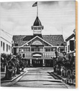 Balboa California Main Street Black And White Picture Wood Print by Paul Velgos