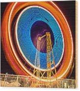 Balboa Fun Zone Ferris Wheel At Night Picture Wood Print