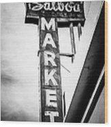 Balboa Market Sign Orange County California Photo Wood Print