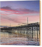 Balboa Pier Sunset Wood Print by Kelley King