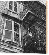Balcony And Windows Mono Wood Print