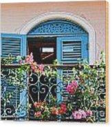 Balcony Blue By Diana Sainz Wood Print
