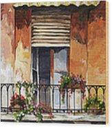 Balcony Of Ancona Wood Print