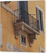 Balcony Piazza Della Madallena In Roma Wood Print