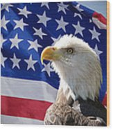 Bald Eagle And American Flag Wood Print