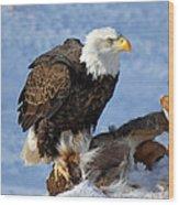 Bald Eagle And Carcass Wood Print