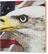 Bald Eagle Art - Old Glory - American Flag Wood Print
