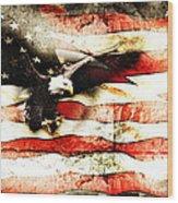 Bald Eagle Bursting Thru Flag Wood Print