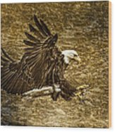 Bald Eagle Capture Wood Print