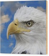 Bald Eagle In The Clouds Wood Print