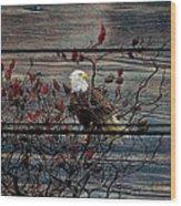 Bald Eagle On Barnwood Wood Print