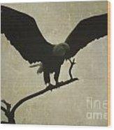 Bald Eagle Texture Wood Print