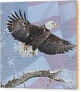 Bald Eagle Touch Of Pride Wood Print