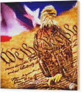 Bald Eagle With American Flag And Constitution Art Landscape Wood Print