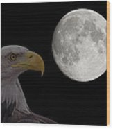 Bald Eagle With Full Moon - 2 Wood Print