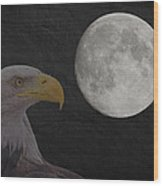 Bald Eagle With Full Moon - 3 Wood Print
